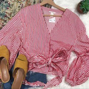 H&M • Pinstriped Tie Wrap Top